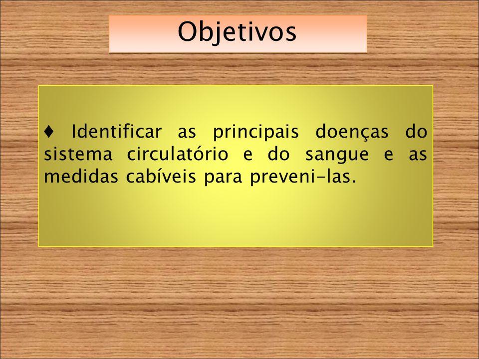 Objetivos Identificar as principais doenças do sistema circulatório e do sangue e as medidas cabíveis para preveni-las.