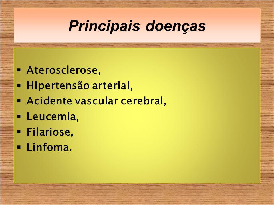 Principais doenças Aterosclerose, Hipertensão arterial, Acidente vascular cerebral, Leucemia, Filariose, Linfoma.