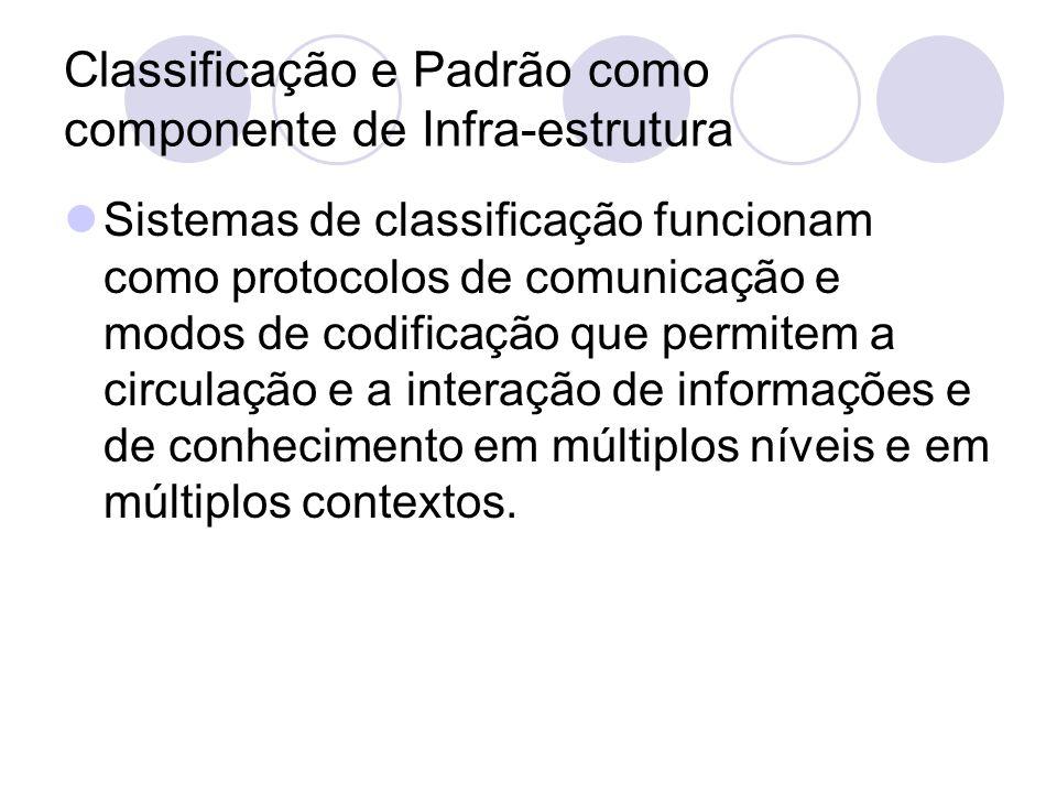 Classificação e Padrão como componente de Infra-estrutura Sistemas de classificação funcionam como protocolos de comunicação e modos de codificação qu