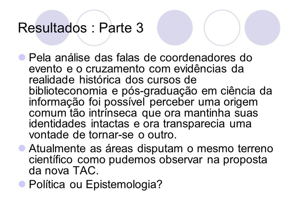 Resultados : Parte 3 Pela análise das falas de coordenadores do evento e o cruzamento com evidências da realidade histórica dos cursos de bibliotecono