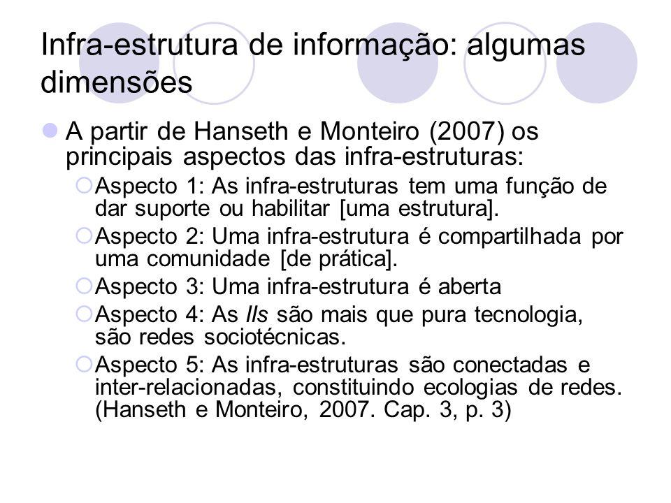 Infra-estrutura de informação: algumas dimensões A partir de Hanseth e Monteiro (2007) os principais aspectos das infra-estruturas: Aspecto 1: As infr