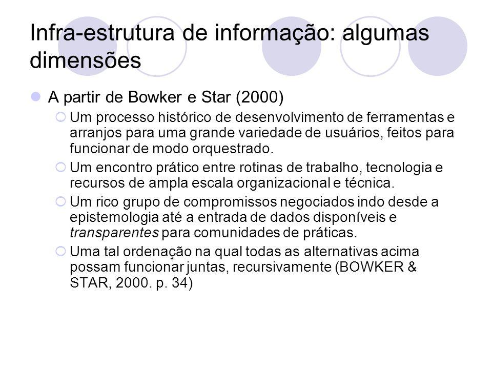 Infra-estrutura de informação: algumas dimensões A partir de Bowker e Star (2000) Um processo histórico de desenvolvimento de ferramentas e arranjos p
