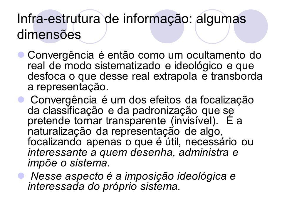 Infra-estrutura de informação: algumas dimensões Convergência é então como um ocultamento do real de modo sistematizado e ideológico e que desfoca o q