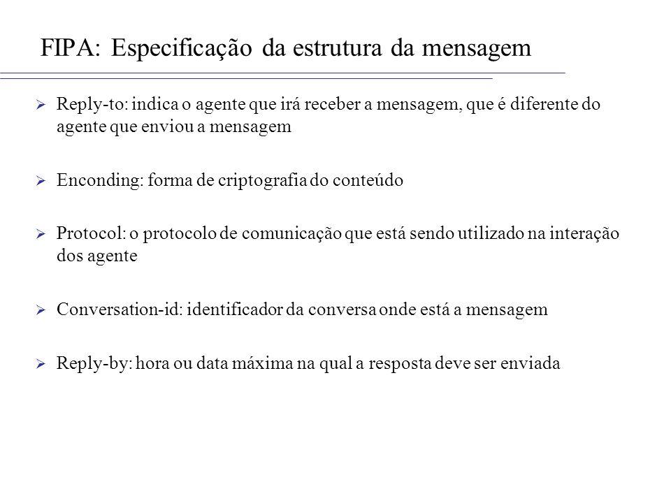 FIPA: Especificação da estrutura da mensagem Reply-to: indica o agente que irá receber a mensagem, que é diferente do agente que enviou a mensagem Enc