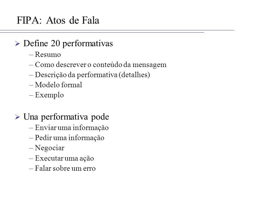 FIPA: Atos de Fala Define 20 performativas –Resumo –Como descrever o conteúdo da mensagem –Descrição da performativa (detalhes) –Modelo formal –Exempl