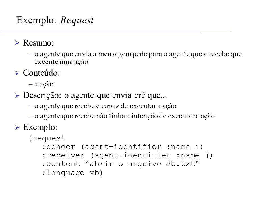 Exemplo: Request Resumo: –o agente que envia a mensagem pede para o agente que a recebe que execute uma ação Conteúdo: –a ação Descrição: o agente que