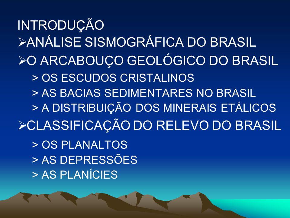 INTRODUÇÃO ANÁLISE SISMOGRÁFICA DO BRASIL O ARCABOUÇO GEOLÓGICO DO BRASIL > OS ESCUDOS CRISTALINOS > AS BACIAS SEDIMENTARES NO BRASIL > A DISTRIBUIÇÃO