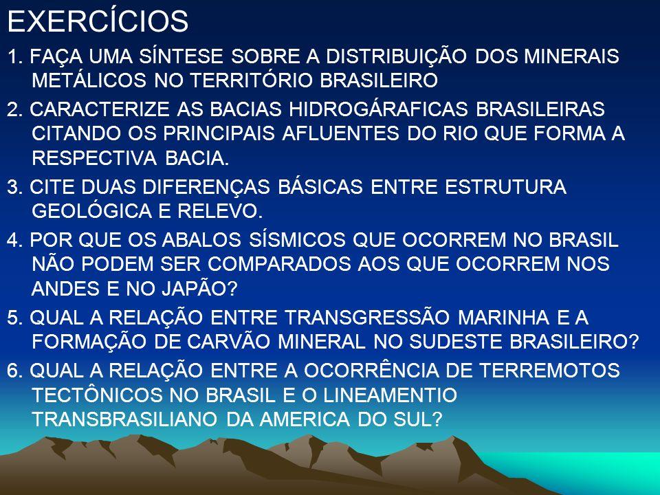 EXERCÍCIOS 1. FAÇA UMA SÍNTESE SOBRE A DISTRIBUIÇÃO DOS MINERAIS METÁLICOS NO TERRITÓRIO BRASILEIRO 2. CARACTERIZE AS BACIAS HIDROGÁRAFICAS BRASILEIRA