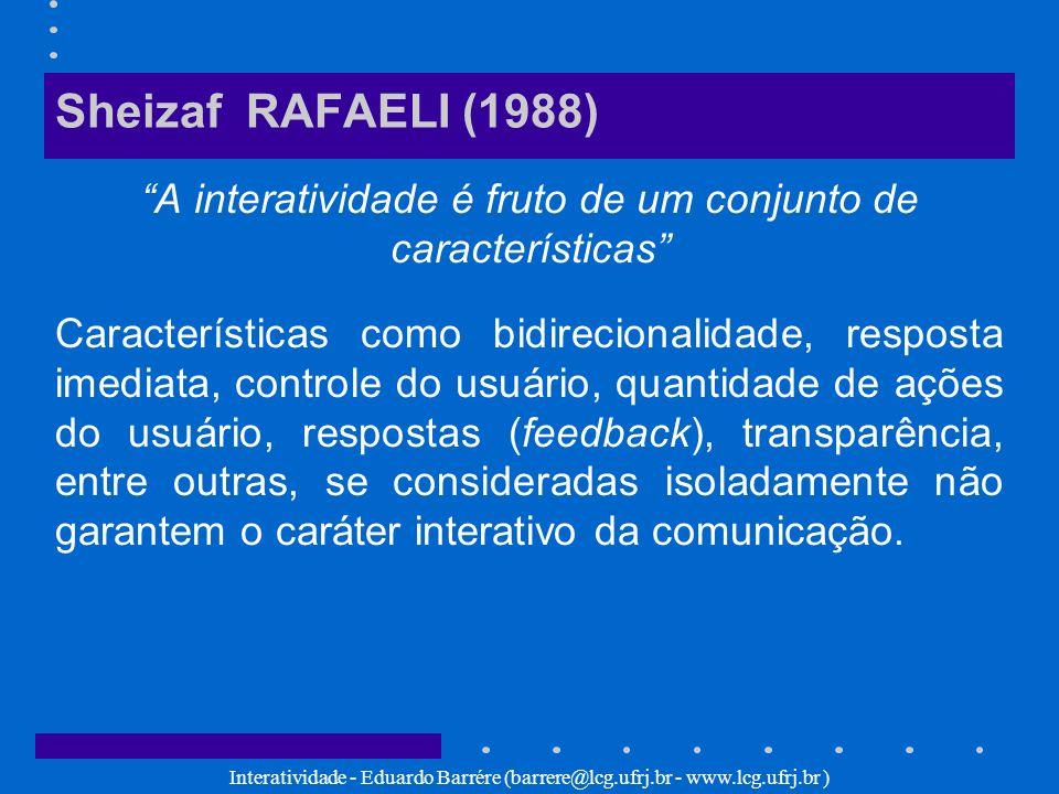 Interatividade - Eduardo Barrére (barrere@lcg.ufrj.br - www.lcg.ufrj.br ) Sheizaf RAFAELI (1988) A interatividade é fruto de um conjunto de caracterís