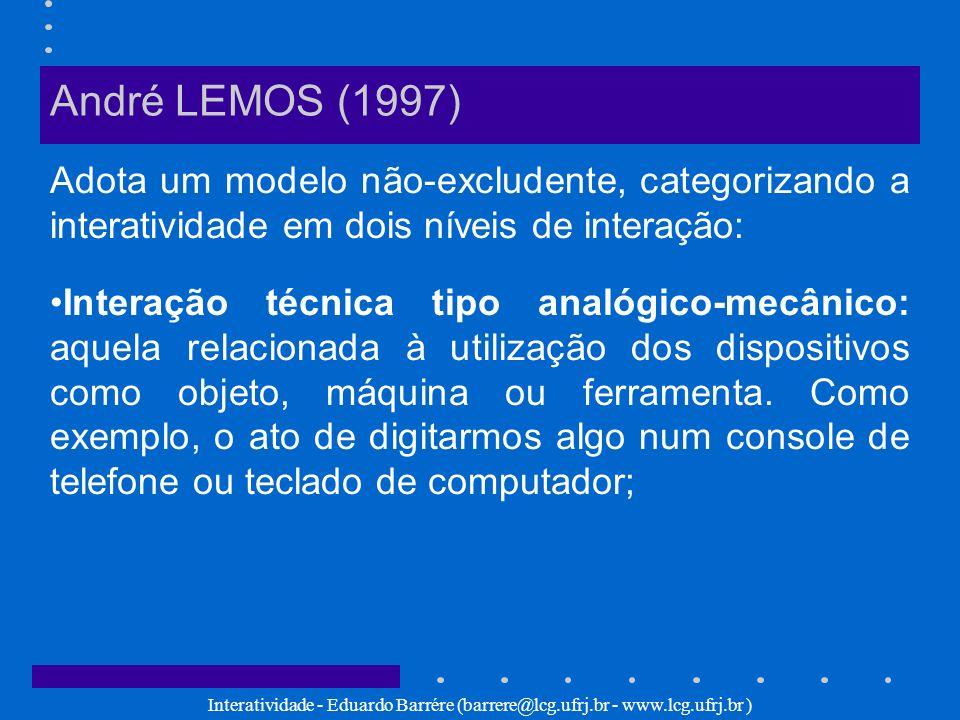 Interatividade - Eduardo Barrére (barrere@lcg.ufrj.br - www.lcg.ufrj.br ) André LEMOS (1997) Adota um modelo não-excludente, categorizando a interativ