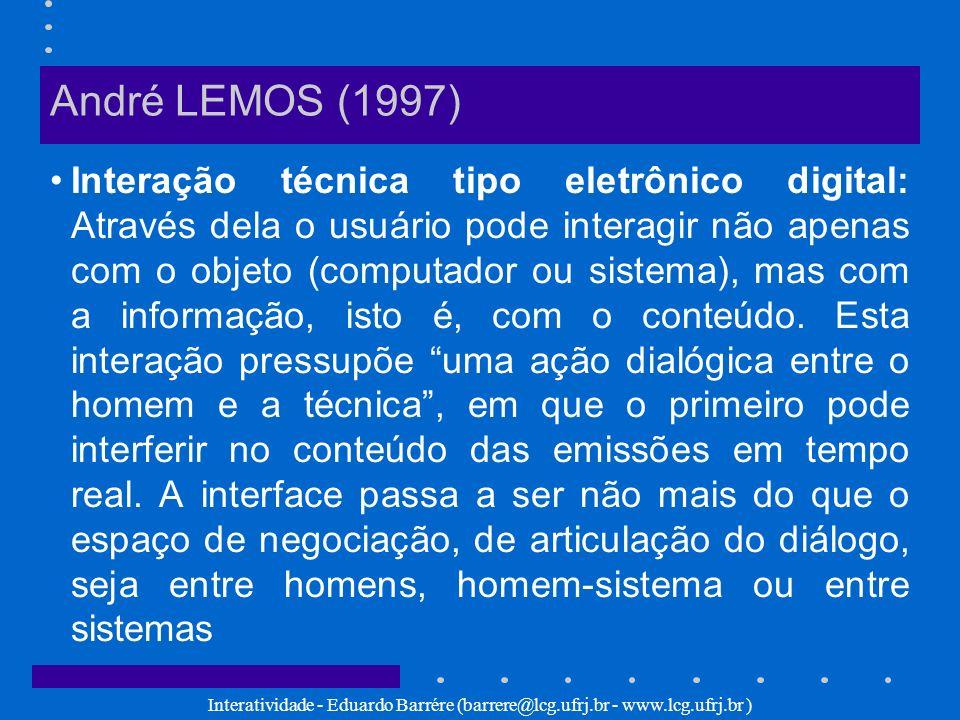 Interatividade - Eduardo Barrére (barrere@lcg.ufrj.br - www.lcg.ufrj.br ) André LEMOS (1997) Interação técnica tipo eletrônico digital: Através dela o