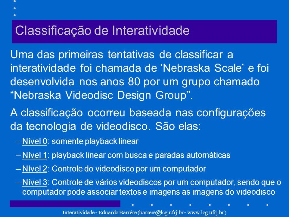 Interatividade - Eduardo Barrére (barrere@lcg.ufrj.br - www.lcg.ufrj.br ) Classificação de Interatividade Uma das primeiras tentativas de classificar
