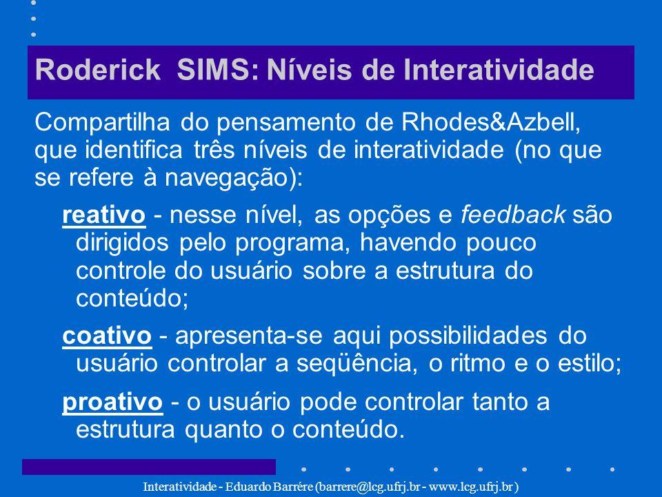 Interatividade - Eduardo Barrére (barrere@lcg.ufrj.br - www.lcg.ufrj.br ) Roderick SIMS: Níveis de Interatividade Compartilha do pensamento de Rhodes&