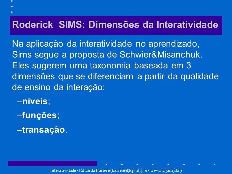 Interatividade - Eduardo Barrére (barrere@lcg.ufrj.br - www.lcg.ufrj.br ) Roderick SIMS: Dimensões da Interatividade Na aplicação da interatividade no