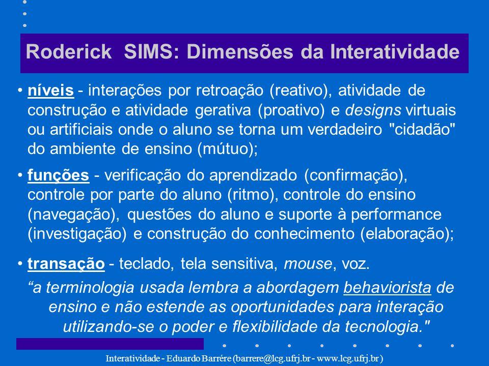 Interatividade - Eduardo Barrére (barrere@lcg.ufrj.br - www.lcg.ufrj.br ) Roderick SIMS: Dimensões da Interatividade níveis - interações por retroação