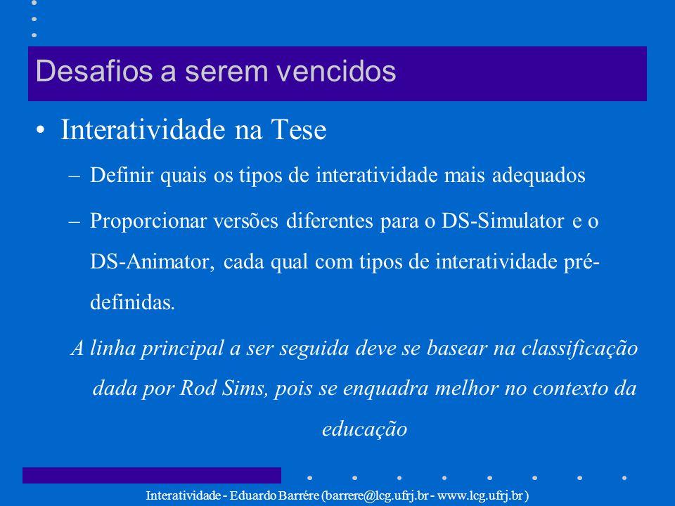 Interatividade - Eduardo Barrére (barrere@lcg.ufrj.br - www.lcg.ufrj.br ) Desafios a serem vencidos Interatividade na Tese –Definir quais os tipos de