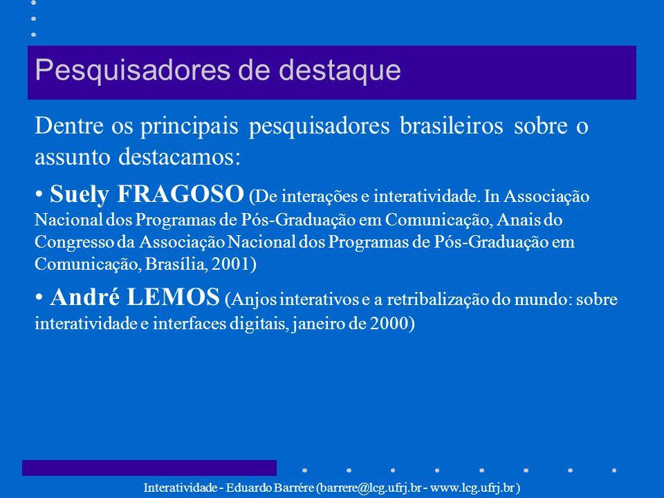 Interatividade - Eduardo Barrére (barrere@lcg.ufrj.br - www.lcg.ufrj.br ) André LEMOS (1997) Interação técnica tipo eletrônico digital: Através dela o usuário pode interagir não apenas com o objeto (computador ou sistema), mas com a informação, isto é, com o conteúdo.