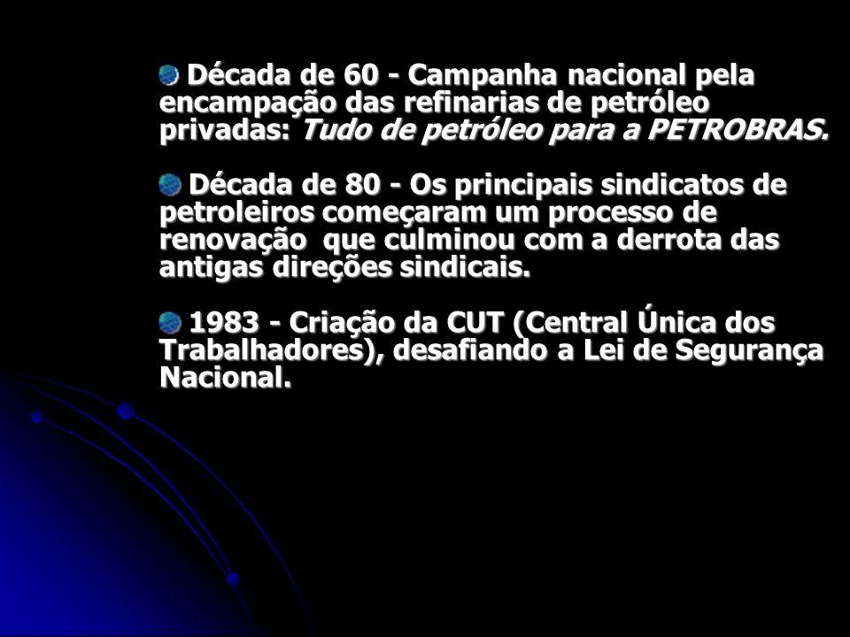 Década de 60 - Campanha nacional pela encampação das refinarias de petróleo privadas: Tudo de petróleo para a PETROBRAS. Década de 60 - Campanha nacio