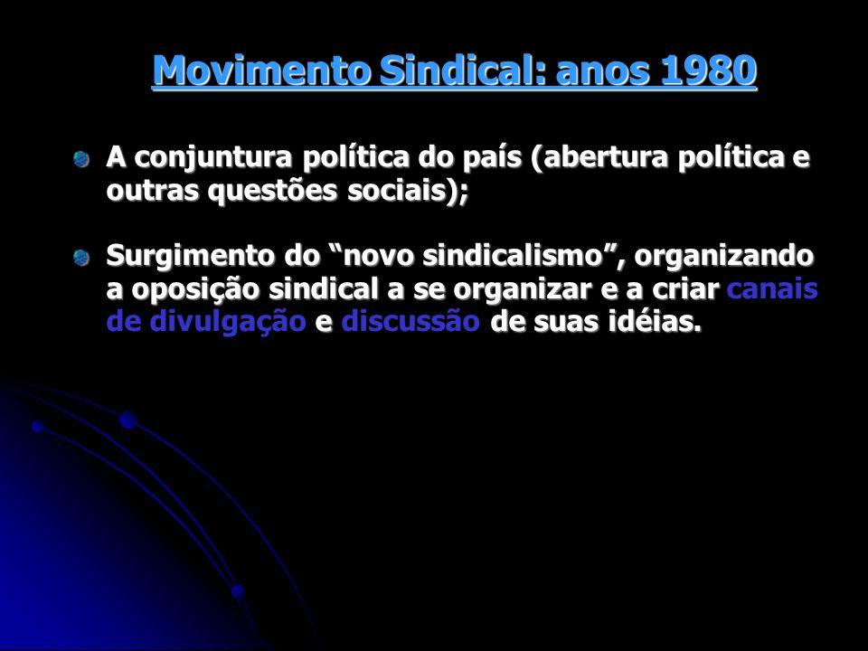 Movimento Sindical: anos 1980 A conjuntura política do país (abertura política e outras questões sociais); Surgimento do novo sindicalismo, organizand