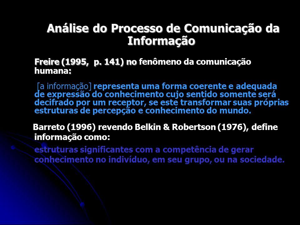 Análise do Processo de Comunicação da Informação Análise do Processo de Comunicação da Informação Freire (1995, p. 141) no : Freire (1995, p. 141) no