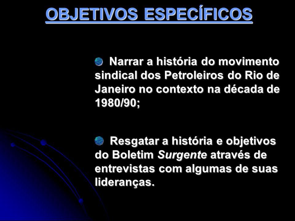 OBJETIVOS ESPECÍFICOS Narrar a história do movimento sindical dos Petroleiros do Rio de Janeiro no contexto na década de 1980/90; Narrar a história do