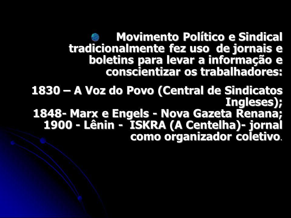 Movimento Político e Sindical tradicionalmente fez uso de jornais e boletins para levar a informação e conscientizar os trabalhadores: 1830 – A Voz do