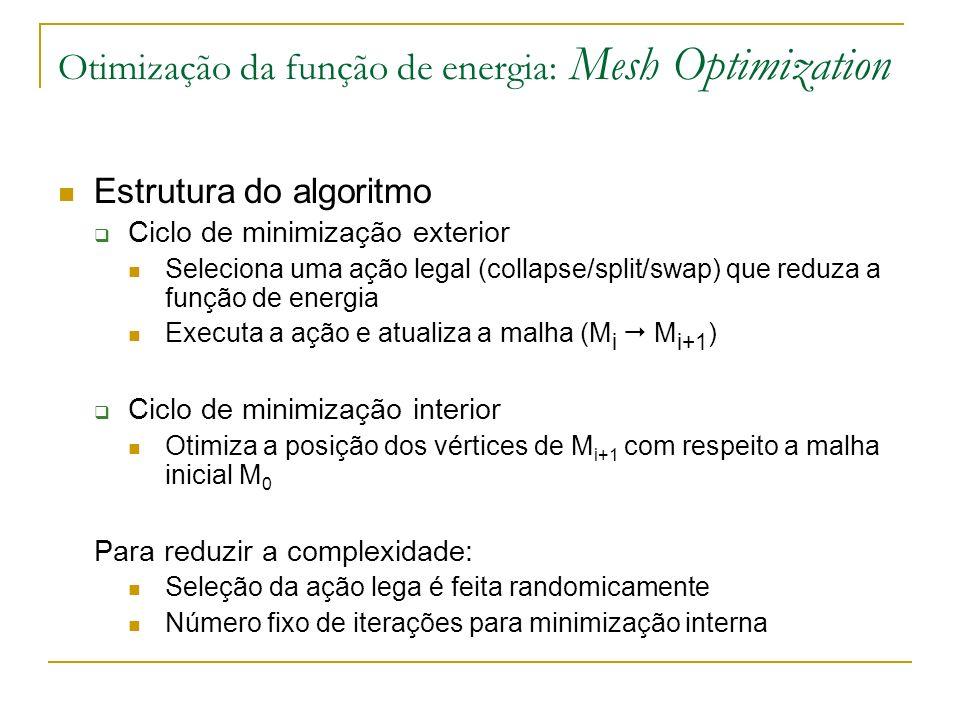 Otimização da função de energia: Mesh Optimization Estrutura do algoritmo Ciclo de minimização exterior Seleciona uma ação legal (collapse/split/swap)