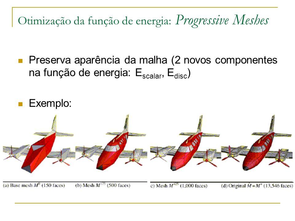 Otimização da função de energia: Progressive Meshes Preserva aparência da malha (2 novos componentes na função de energia: E scalar, E disc ) Exemplo: