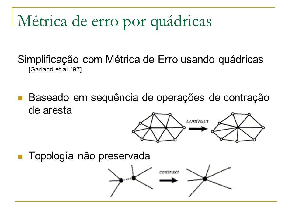 Métrica de erro por quádricas Simplificação com Métrica de Erro usando quádricas [Garland et al. 97] Baseado em sequência de operações de contração de