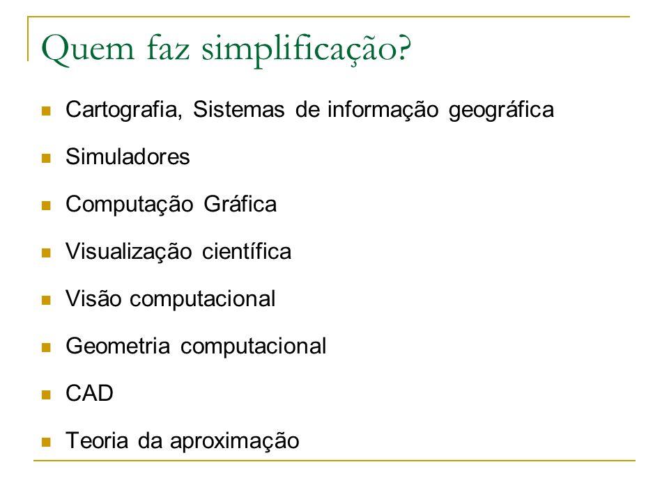 Quem faz simplificação? Cartografia, Sistemas de informação geográfica Simuladores Computação Gráfica Visualização científica Visão computacional Geom