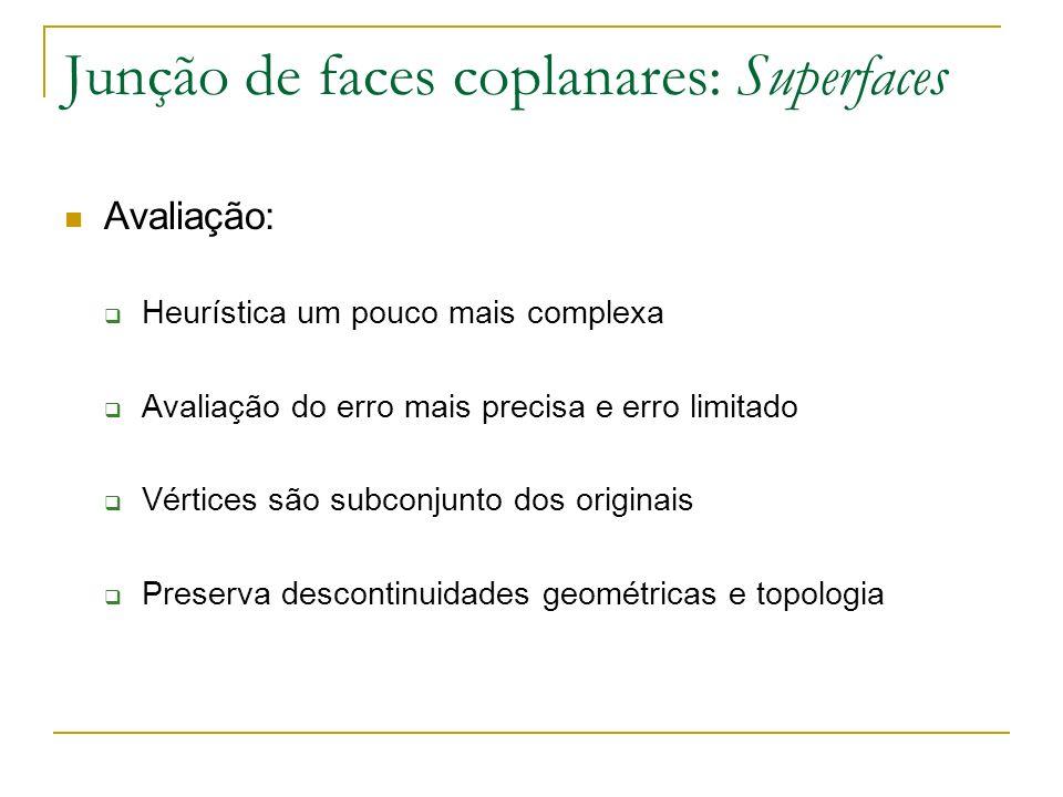 Junção de faces coplanares: Superfaces Avaliação: Heurística um pouco mais complexa Avaliação do erro mais precisa e erro limitado Vértices são subcon