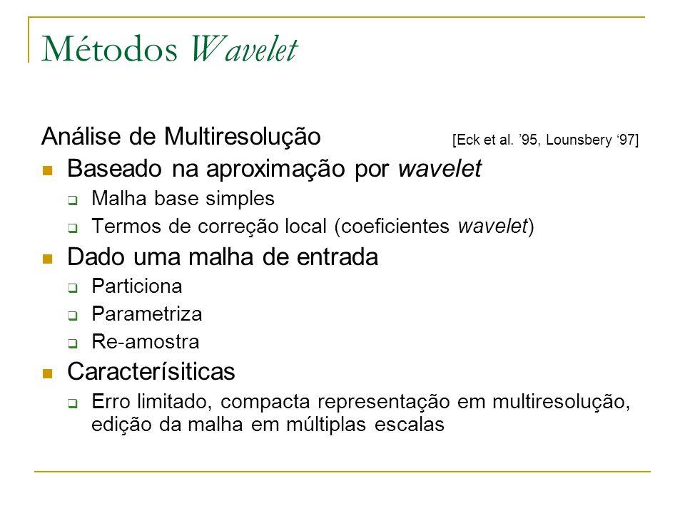 Métodos Wavelet Análise de Multiresolução [Eck et al. 95, Lounsbery 97] Baseado na aproximação por wavelet Malha base simples Termos de correção local