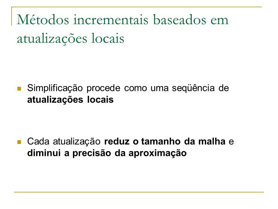 Métodos incrementais baseados em atualizações locais Simplificação procede como uma seqüência de atualizações locais Cada atualização reduz o tamanho