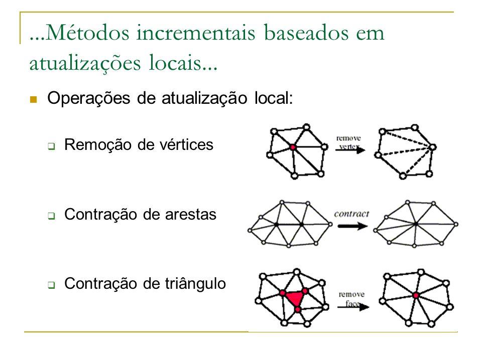 Fases do Algoritmo Classificação topológica dos vértices Avaliação do critério de decimação (avaliação do erro) Re-triangulação do pedaço de triângulos removidos...Decimação...