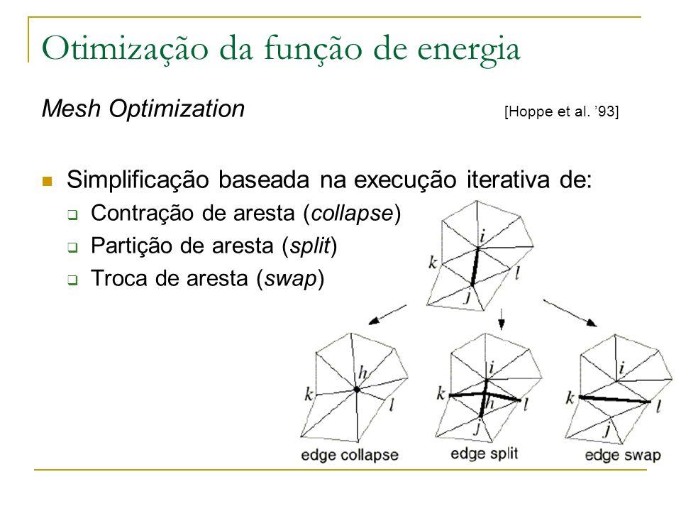 Otimização da função de energia: Mesh Optimization Qualidade da aproximação avaliada com uma função de energia: E(M) = E dist (M) + E rep (M) + E spring (M) E dist : soma das distâncias dos pontos originais a M E rep : fator proporcional ao número de vértices em M E spring : soma dos comprimentos das arestas