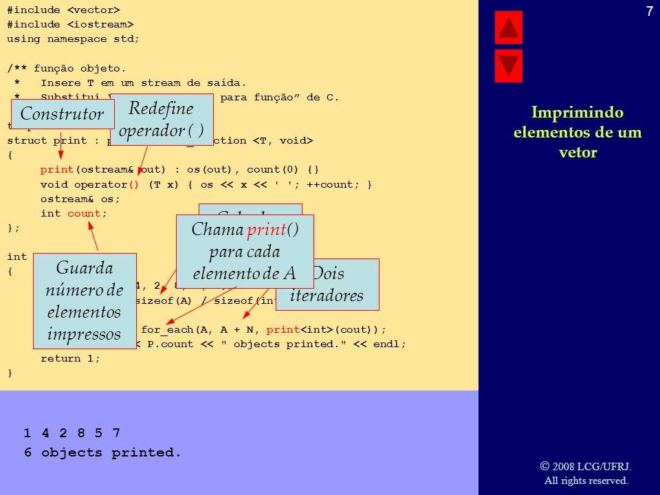 2008 LCG/UFRJ.All rights reserved. 8 Vector vector é o recipiente mais simples da STL.