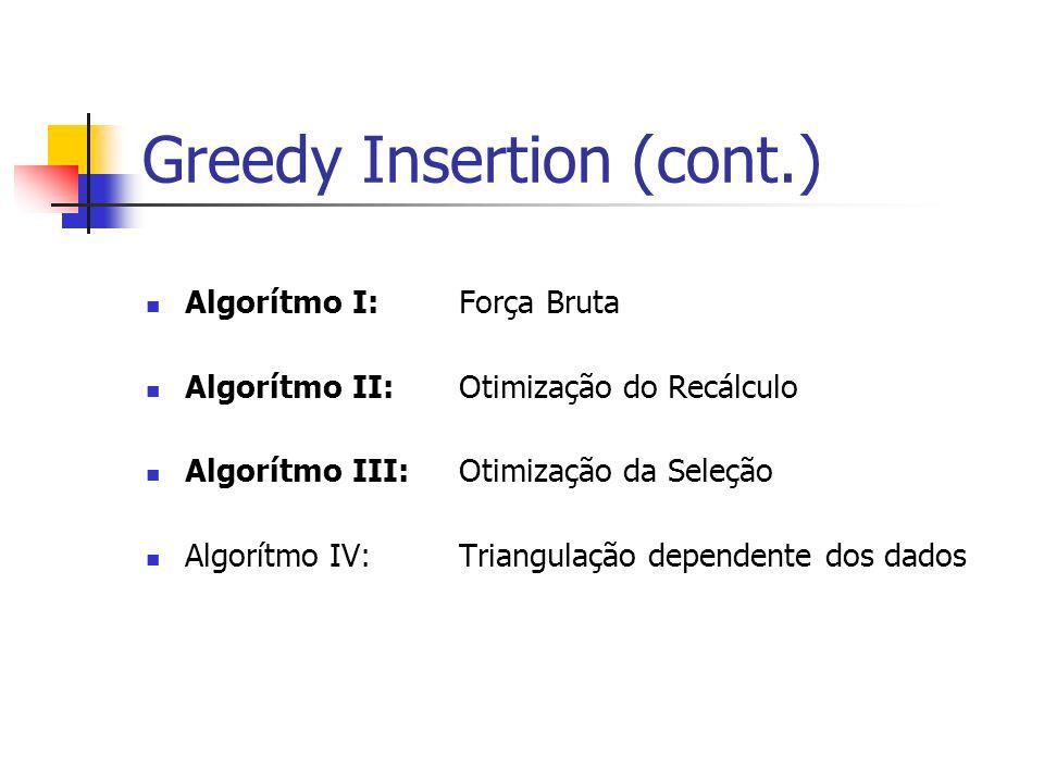 Greedy Insertion (cont.) Algorítmo I:Força Bruta Algorítmo II:Otimização do Recálculo Algorítmo III:Otimização da Seleção Algorítmo IV: Triangulação d