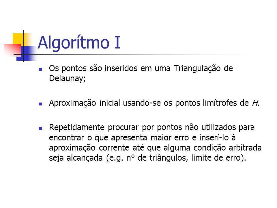 Algorítmo I Os pontos são inseridos em uma Triangulação de Delaunay; Aproximação inicial usando-se os pontos limítrofes de H. Repetidamente procurar p