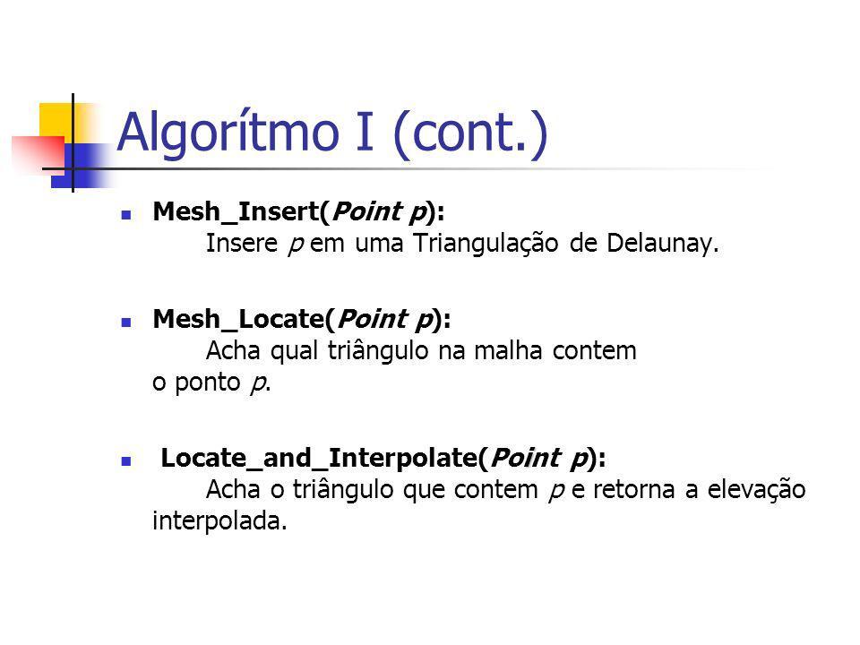 Algorítmo I (cont.) Mesh_Insert(Point p): Insere p em uma Triangulação de Delaunay. Mesh_Locate(Point p): Acha qual triângulo na malha contem o ponto