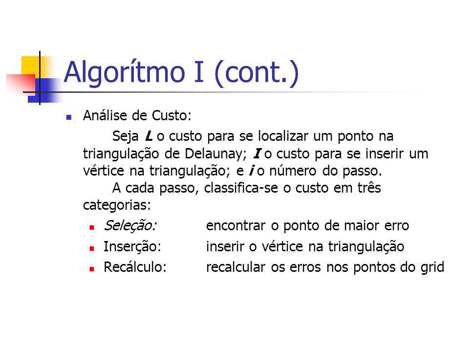 Algorítmo I (cont.) Análise de Custo: Seja L o custo para se localizar um ponto na triangulação de Delaunay; I o custo para se inserir um vértice na t