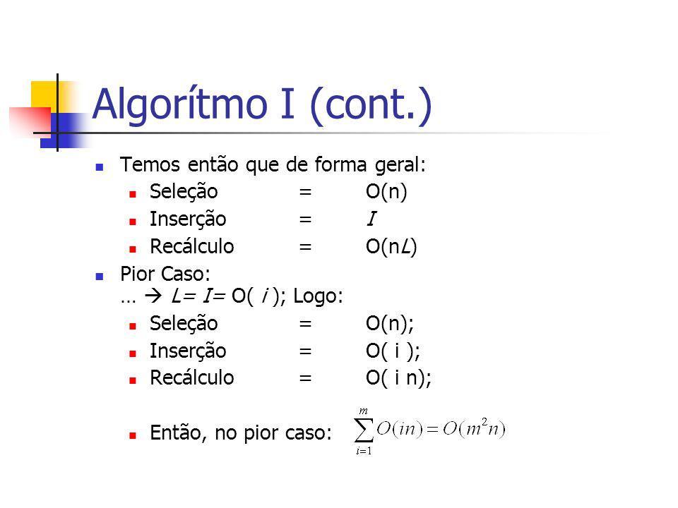 Algorítmo I (cont.) Temos então que de forma geral: Seleção =O(n) Inserção =I Recálculo=O(nL) Pior Caso: … L= I= O( i ); Logo: Seleção=O(n); Inserção=