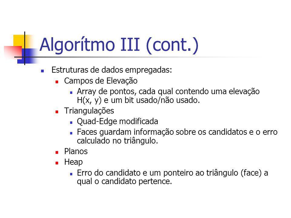 Algorítmo III (cont.) Estruturas de dados empregadas: Campos de Elevação Array de pontos, cada qual contendo uma elevação H(x, y) e um bit usado/não u