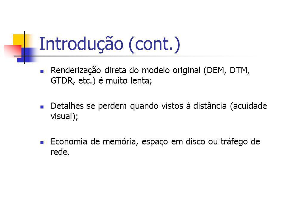 Introdução (cont.) Renderização direta do modelo original (DEM, DTM, GTDR, etc.) é muito lenta; Detalhes se perdem quando vistos à distância (acuidade