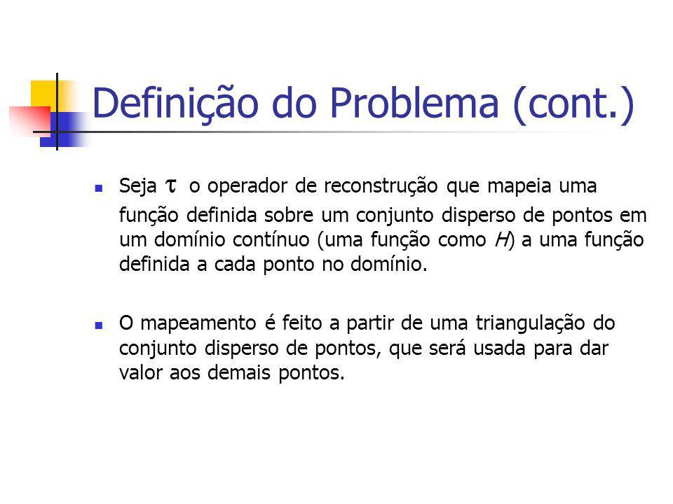 Definição do Problema (cont.) Seja o operador de reconstrução que mapeia uma função definida sobre um conjunto disperso de pontos em um domínio contín