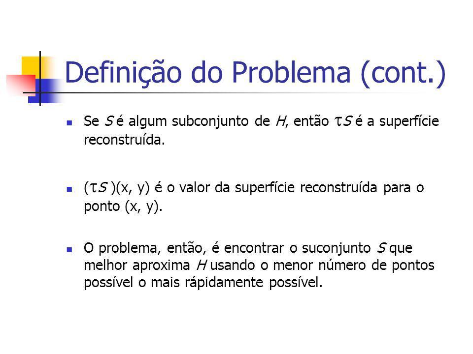 Definição do Problema (cont.) Se S é algum subconjunto de H, então S é a superfície reconstruída. ( S )(x, y) é o valor da superfície reconstruída par