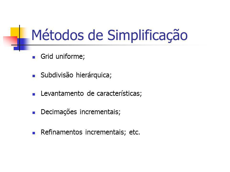 Métodos de Simplificação Grid uniforme; Subdivisão hierárquica; Levantamento de características; Decimações incrementais; Refinamentos incrementais; e