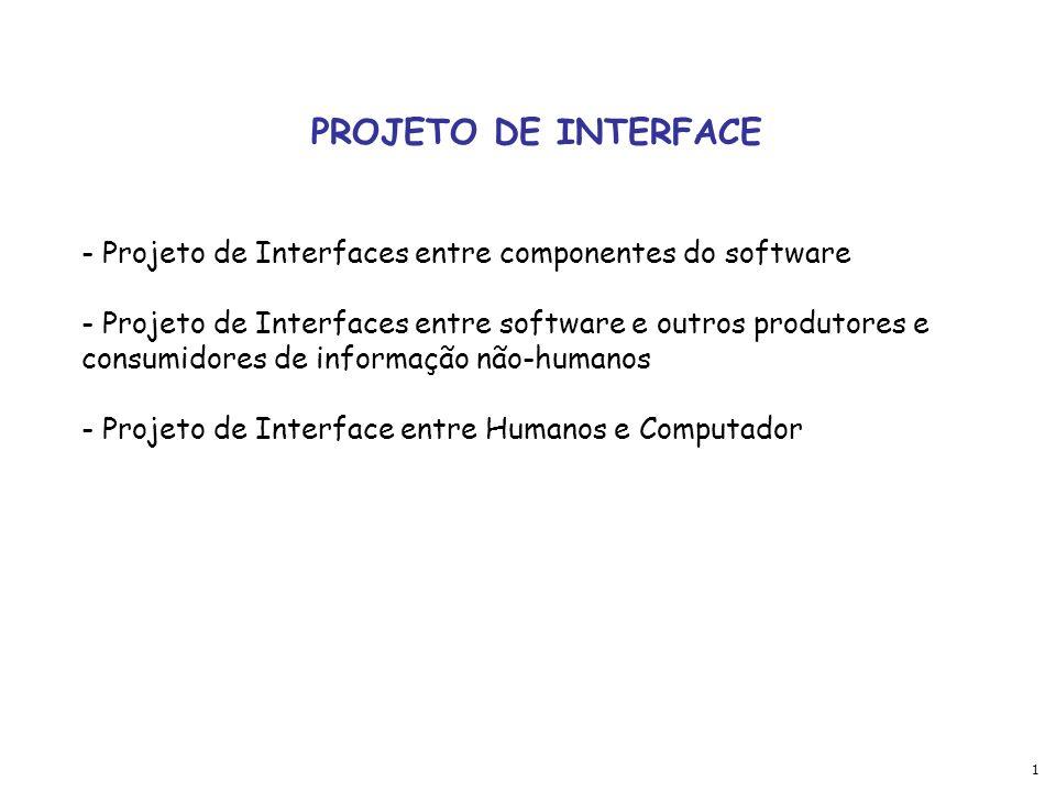 1 PROJETO DE INTERFACE - Projeto de Interfaces entre componentes do software - Projeto de Interfaces entre software e outros produtores e consumidores