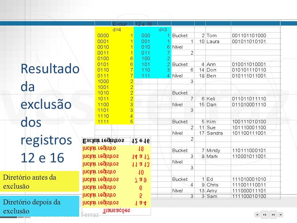 Resultado da exclusão dos registros 12 e 16 12 Diretório antes da exclusão Diretório depois da exclusão