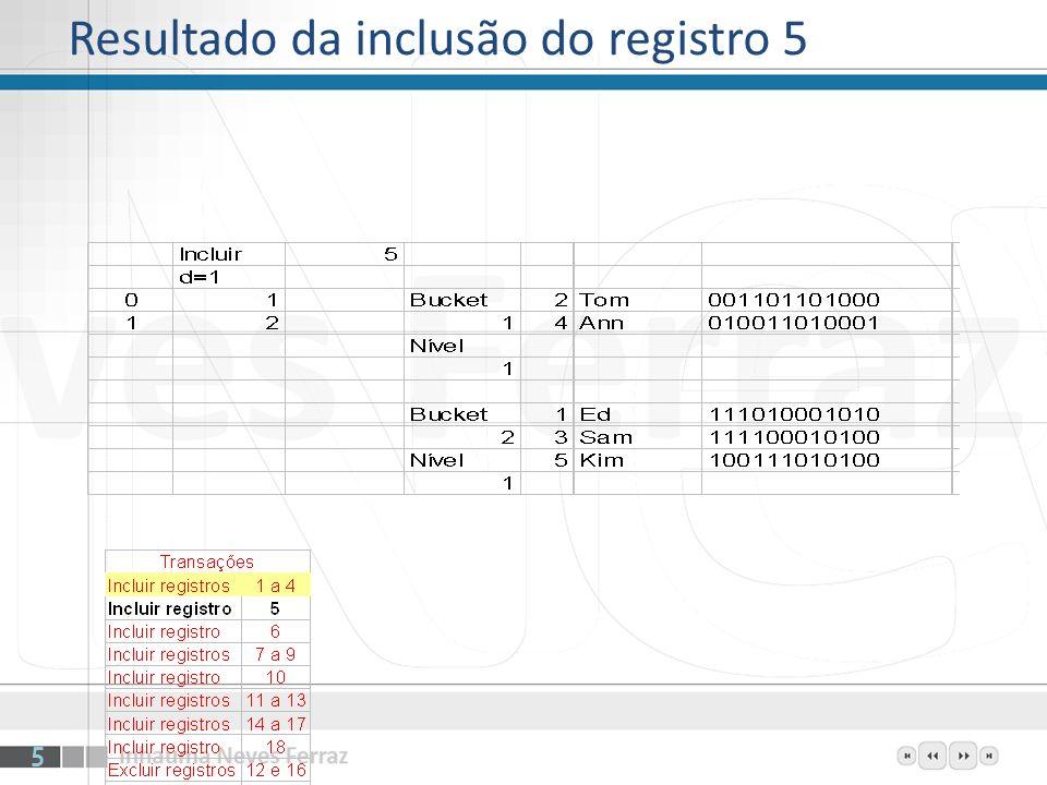 Resultado da inclusão do registro 5 5