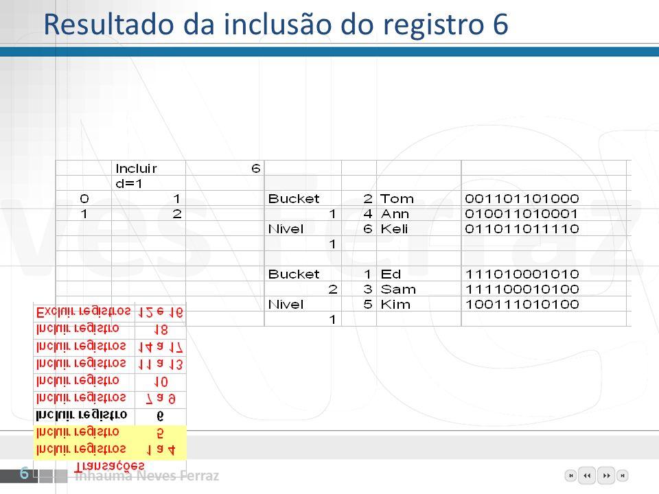 Resultado da inclusão do registro 6 6